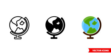 Earth globe icon of 3 types. Isolated vector sign symbol.