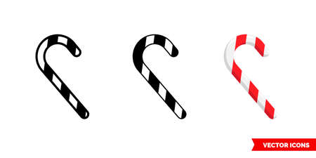 Candy cane icon of 3 types. Isolated vector sign symbol. 스톡 콘텐츠 - 150645421