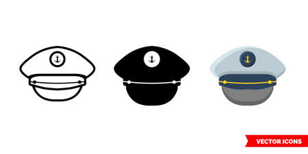 Captain cap icon of 3 types. Isolated vector sign symbol.