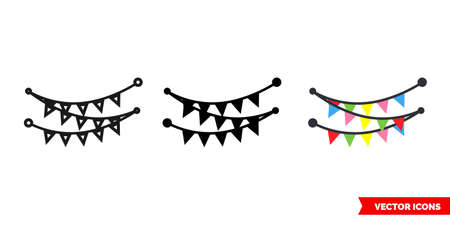 Carnival garland icon of 3 types. Isolated vector sign symbol.