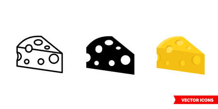 Cheese icon of 3 types. Isolated vector sign symbol. Illustration