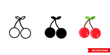 Cherries icon of 3 types. Isolated vector sign symbol. Illustration