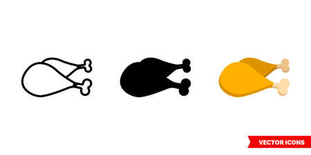 Chicken legs icon of 3 types. Isolated vector sign symbol.