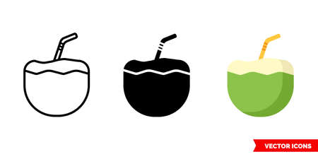 Coconut drink icon of 3 types. Isolated vector sign symbol.