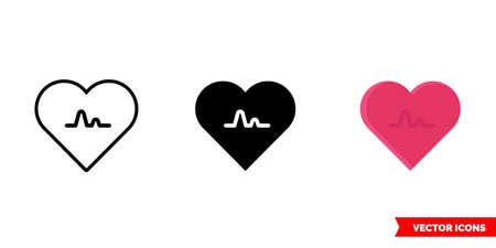 Heartbeat or heart icon of 3 types. Isolated vector sign symbol. Illusztráció