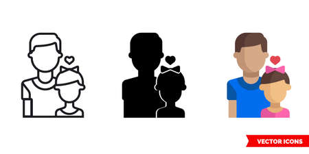 Father with a daughter icon of 3 types. Isolated vector sign symbol. Ilustração