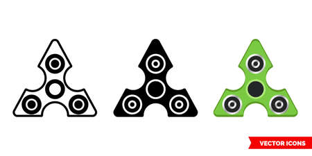 Fidget spinner icon of 3 types. Isolated vector sign symbol. Illusztráció