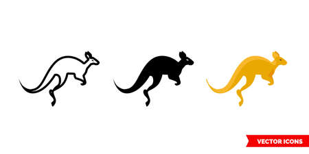 Kangaroo icon of 3 types. Isolated vector sign symbol.