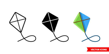 Kite icon of 3 types. Isolated vector sign symbol.