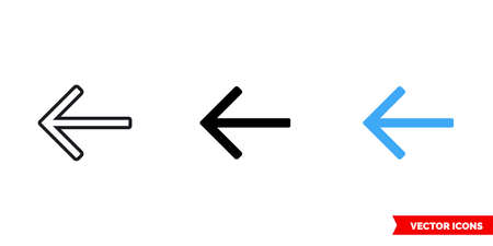 Left arrow icon of 3 types. Isolated vector sign symbol.