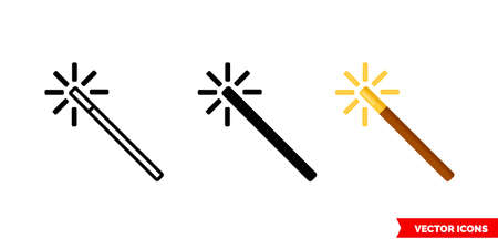 Magic wand icon of 3 types. Isolated vector sign symbol.