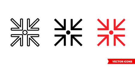 Minimize icon of 3 types. Isolated vector sign symbol.