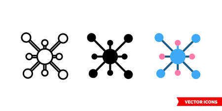 Molecule icon of 3 types. Isolated vector sign symbol. Vectores