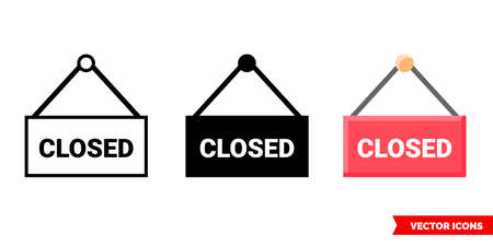 Close sign icon of 3 types. Isolated vector sign symbol.