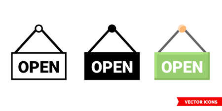 Nameplate open icon of 3 types. Isolated vector sign symbol.
