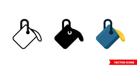 Paint bucket icon of 3 types. Isolated vector sign symbol.