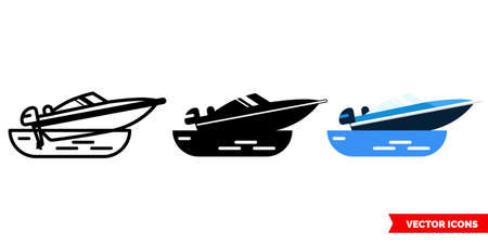Powerboat icon of 3 types. Isolated vector sign symbol.