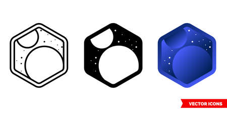 Space icon of 3 types. Isolated vector sign symbol.