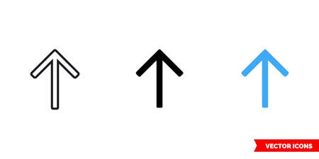 Up arrow icon of 3 types. Isolated sign symbol.