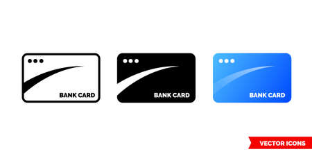 Bank card icon of 3 types. Isolated vector sign symbol.