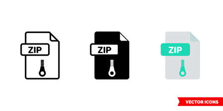 ZIP file icon of 3 types. Isolated vector sign symbol. Ilustrace