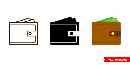 Wallet icon of 3 types. Isolated vector sign symbol. 矢量图像