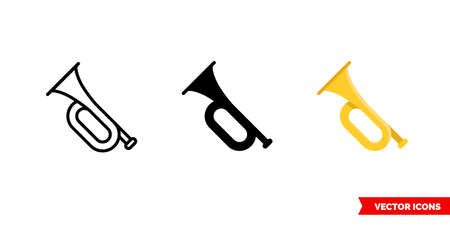 Bugle icon of 3 types. Isolated vector sign symbol. Illustration