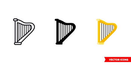 Harp icon of 3 types. Isolated vector sign symbol.