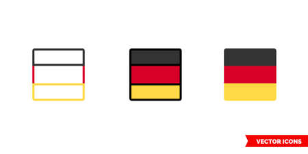 Germany flag icon of 3 types. Isolated vector sign symbol. Stock Illustratie