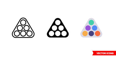 Billiard rack icon of 3 types. Isolated vector sign symbol. Illustration