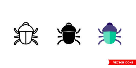Bug icon of 3 types. Isolated vector sign symbol.