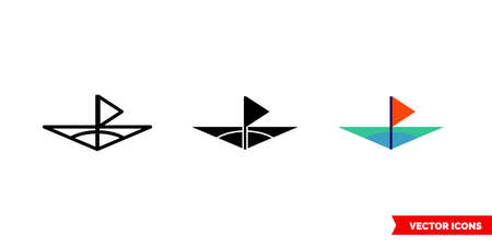 Flag in corner icon of 3 types. Isolated vector sign symbol. Vectores