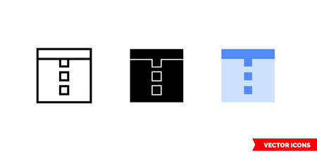 Horizontal docking icon of 3 types. Isolated vector sign symbol.