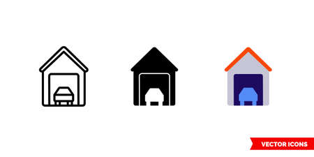 Garage icon of 3 types. Isolated vector sign symbol. Vectores