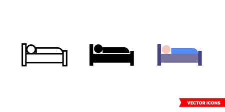 Occupied bed icon of 3 types. Isolated vector sign symbol.