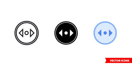 Divide horizontal direction icon of 3 types. Isolated vector sign symbol.