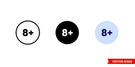Eight plus icon of 3 types. Isolated vector sign symbol. Vectores