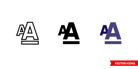 Font style formatting icon of 3 types. Isolated vector sign symbol.