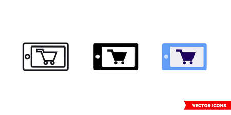Mobile order icon of 3 types. Isolated vector sign symbol.