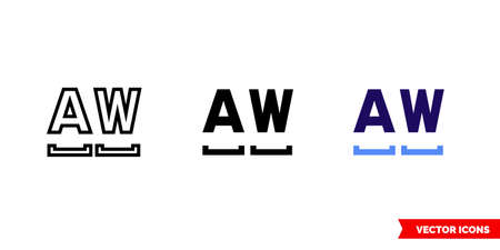 Monospaced font icon of 3 types. Isolated vector sign symbol.