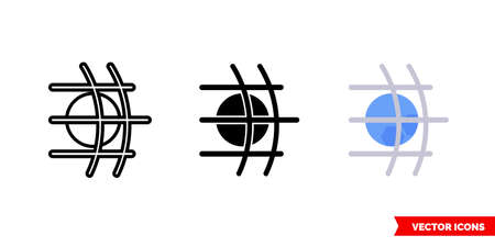 Football goal icon of 3 types. Isolated vector sign symbol.
