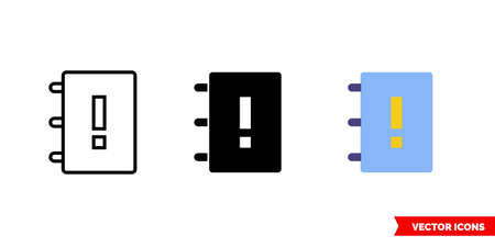 Important book icon of 3 types. Isolated vector sign symbol. Vectores