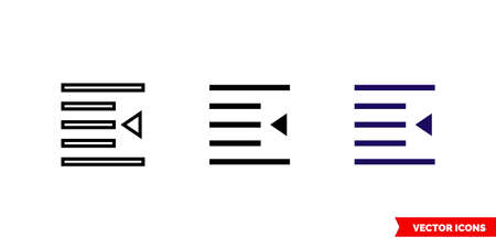 Indent icon of 3 types. Isolated vector sign symbol.