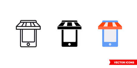 Mobile shopping icon of 3 types. Isolated vector sign symbol.