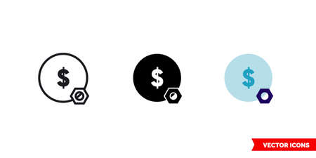 Money bag icon of 3 types. Isolated vector sign symbol.