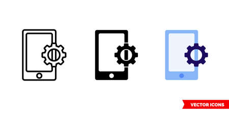 Phone line setup icon of 3 types. Isolated vector sign symbol. 일러스트