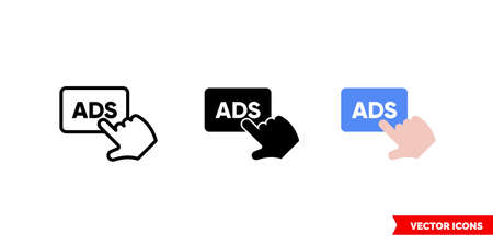 Post ads icon of 3 types. Isolated vector sign symbol.