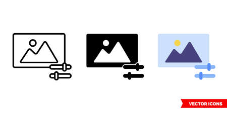 Photo editor icon of 3 types. Isolated vector sign symbol. Illustration