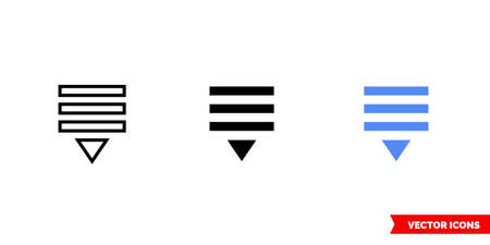 Pull down icon of 3 types. Isolated vector sign symbol.