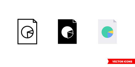 Pie chart report icon of 3 types. Isolated vector sign symbol.